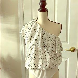 Polka dot one shoulder bodysuit